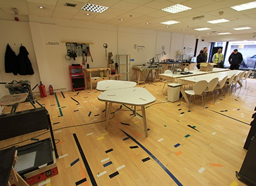 Flooring donated to local social enterprise MAKLab